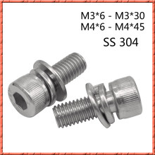 50pcs/lot M3 M4*6-45 Stainless steel hexagaon socket head sems cap bolt cap screw din912 Three combination bolt