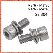 50 pçs/lote M3 M4 * 6-aço Inoxidável 45 hexagaon cap cap parafuso parafuso din912 socket sems cabeça Três parafuso combinação