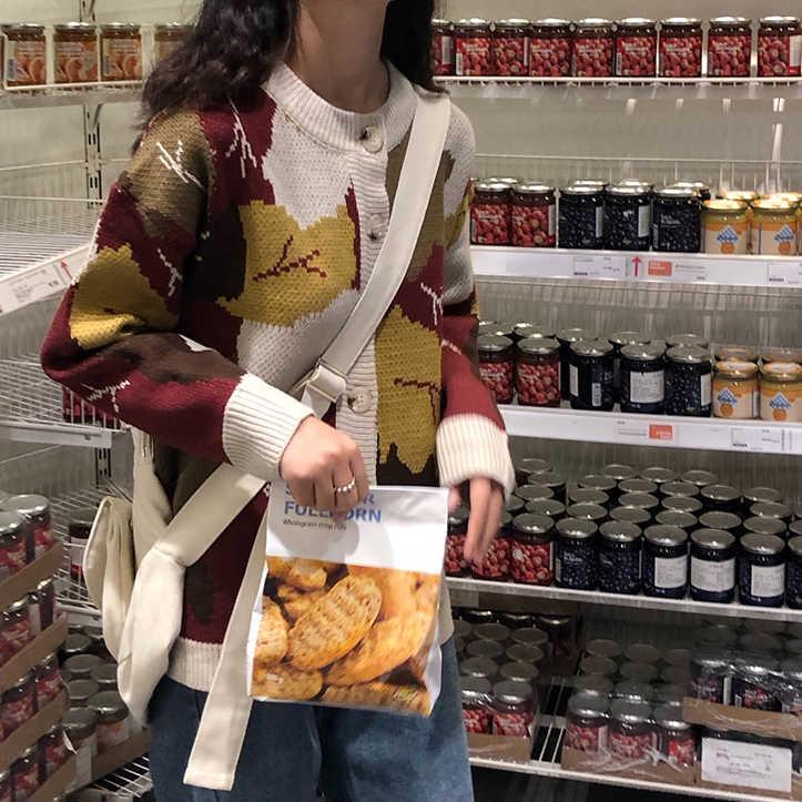Harajuku корейские модные осенние свитера 2019 женская зимняя одежда винтажные, в виде листика сшивание пуговиц негабаритных женский кардиган