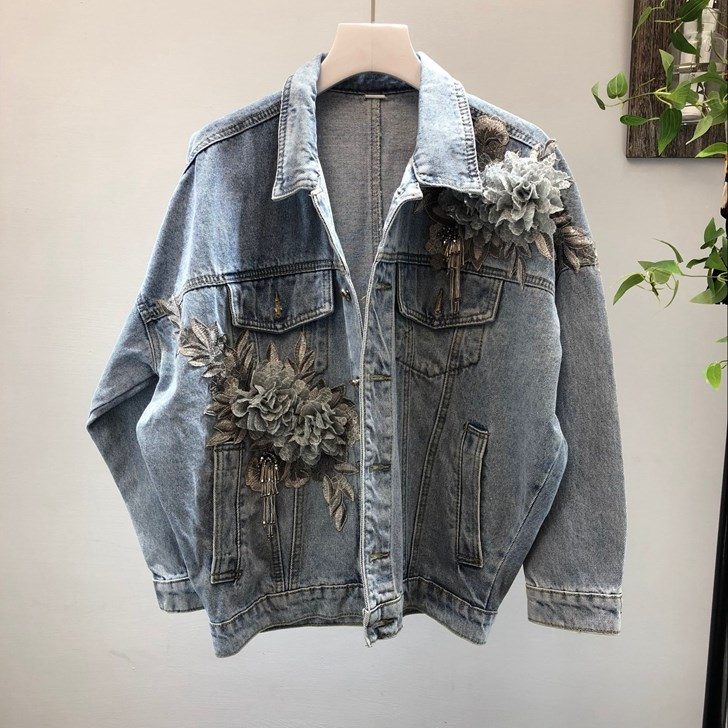 3D Appliques Demin veste femmes vêtements à manches longues vêtements vintage hauts simple boutonnage jean manteau