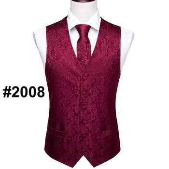 Designer Mens Classic Black Paisley Jacquard Folral Silk Waistcoat Vests Handkerchief Tie Vest Suit Pocket Square Set Barry.Wang 14