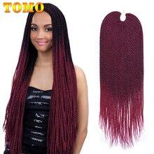 """TOMO Hair extensiones de cabello trenzado sintético senegalés, 30 hebras, 14 """", 16"""", 18 """", 20"""" y 22 """", color negro y rojo"""