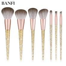Banfi Роскошные 7 шт набор кистей для макияжа с золотыми кристаллами