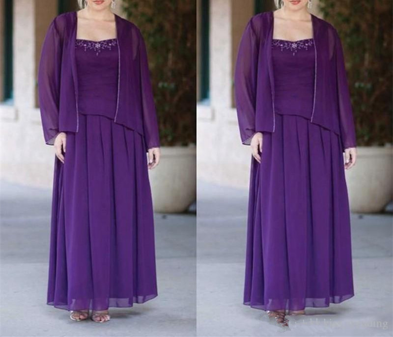 Elegant Two-Pieces Mother Of The Bride Dresses With Jackets 2019 Vestido De Madrinha Purple Chiffon Formal Beads Long Sleeve