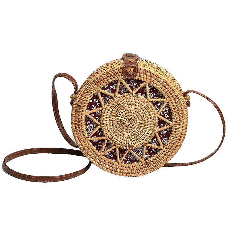 Handmade Crossbody Rattan Bag , Round Wicker Shoulder Straw Purse , Handwoven Fashion Accessories, Best Gift Idea For Women
