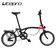 Litepro bicicleta dobrável 16 Polegada interno 3 velocidades de aço quadro mini dobrável para brompton