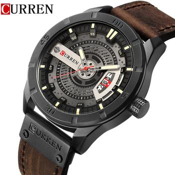 CURREN 8301 Leather Military Sports Watches Male Analog Date Quartz Watch Men Casual Leather Wrist Watch