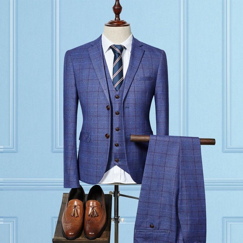High Quality Luxury Mens Suits Slim Fit Plaid Blazer Coats Plaid Straight Pants 3 Piece Set Business Casual Male Suits Sets