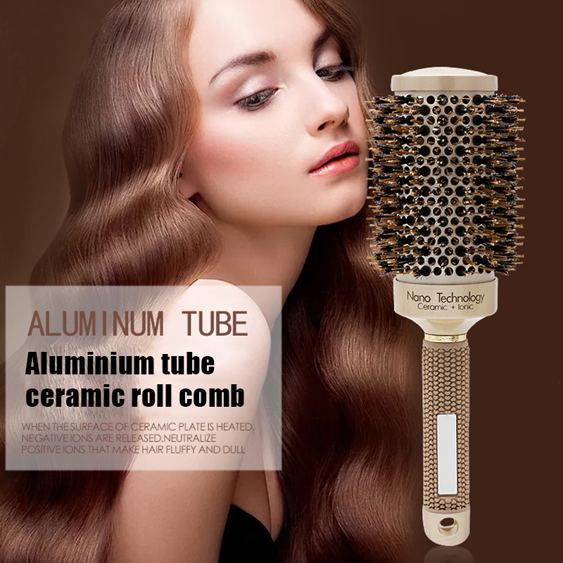Professional Hair Styling Accessories Thermal Ceramic Ionic Round Barrel Hair Brush Comb With Boar Bristle LVS88