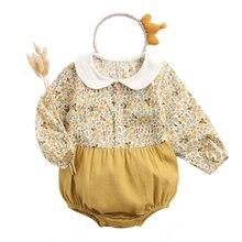 Newborn Bodysuits Floral Baby-Girls Vintage Cotton Jumpsuit Fashion Autumn Princess