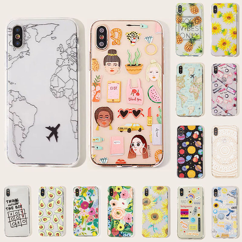 animal Map starry sky iPhone Case Suitable For 6P/7/7P/XR/X/Xs/11/11Pro Max Shell TPU Protective Cover Soft Shell Phone case