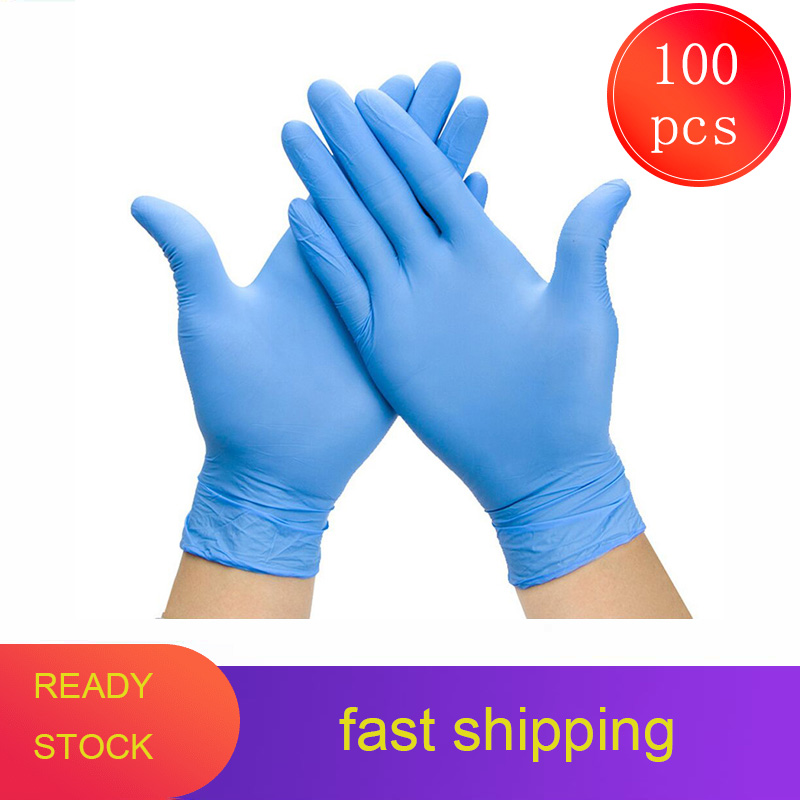 100PCS Non-toxic Cleaning Washing Disposable Gloves Nitrile Laboratory Nail Art Anti-Static Non-allergenic Nitrile Latex Gloves