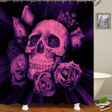Bathroom Curtain Skull Flower-Printed Hook Home-Decor Waterproof 3D Polyester with 200x180cm