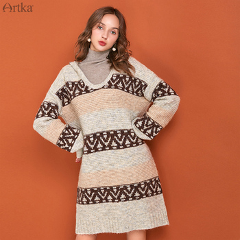 ARTKA 2019 Autumn Winter New Women Sweater Dress Vintage Knitted Hooded Wool Dresses Long Warm LB10093Q