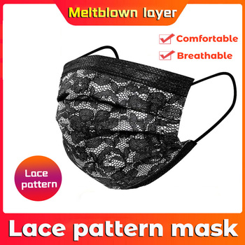 10-200pcs Disposable Masks Non-woven Face Masks 3 layer Ply Filter Anti Dust Breathable Adult Mouth Mask Black with Lace pattern