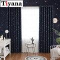 Затемненные занавески Tiyana с рисунком звезды и Луны для детей  изолированные занавески для гостиной  спальни  темно-синие занавески на окна  ...