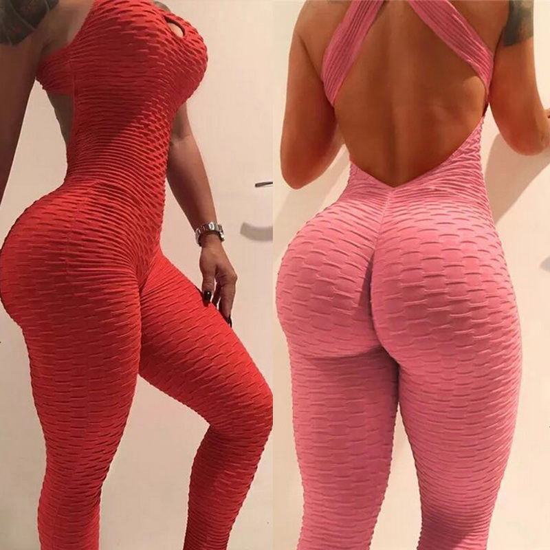 2020 Sexy Halter Women Tracksuit Jumpsuit High Waist Play Suit Slim Sport Backless Top Running Sportswear Pants Push up Jumpsuit