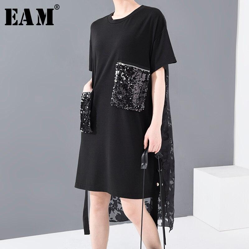 [EAM] Women Black Sequins Back Lace Split Big Size Dress New Round Neck Half Sleeve Loose Fit Fashion Spring Summer 2020 1U12701