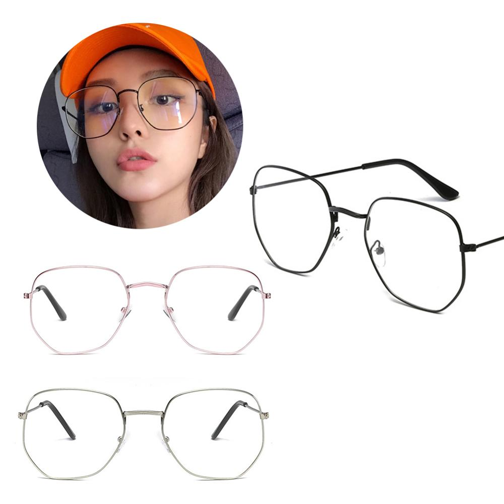 MISS M Metal Square Rim Plain Glass Spectacles Large Frame Asymmetrical Polygon Glasses Lady Radiation Protection Glasses Men