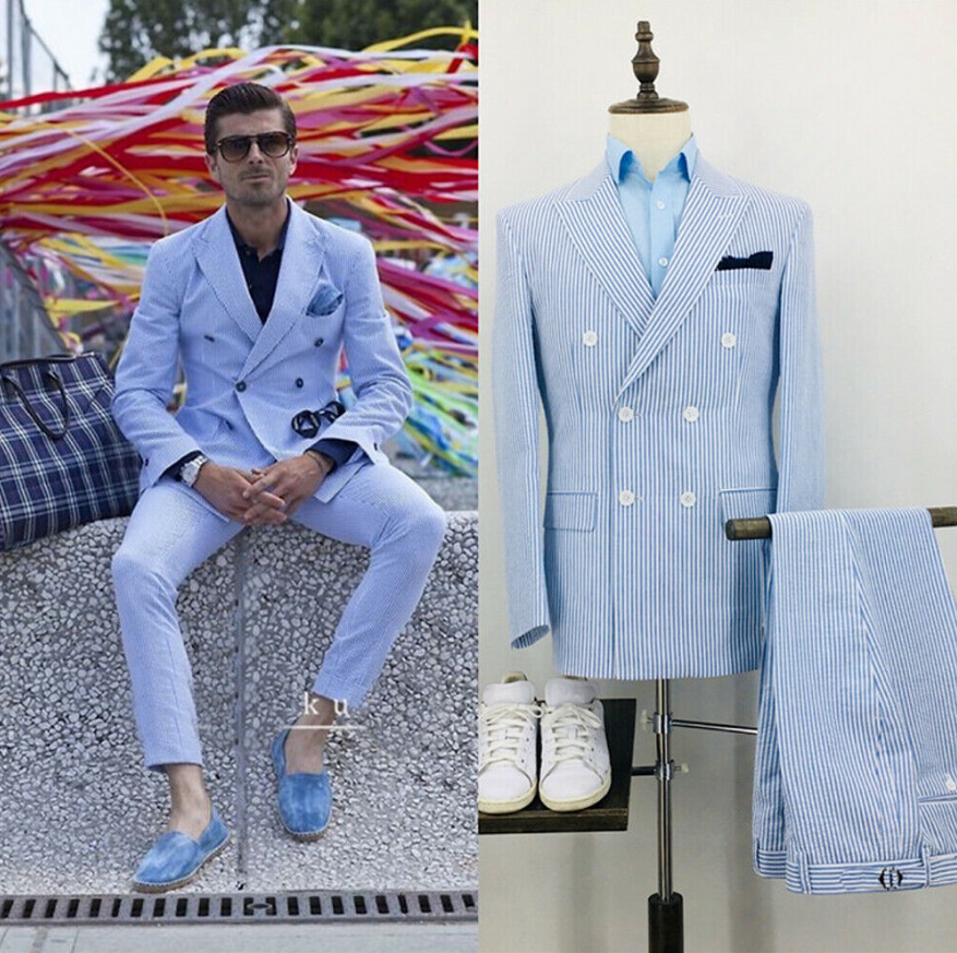 2020 Men's Summer Seersucker Suits Leisure Beach Two Piece Peak Lapel Groom Wedding Double-breasted Suits