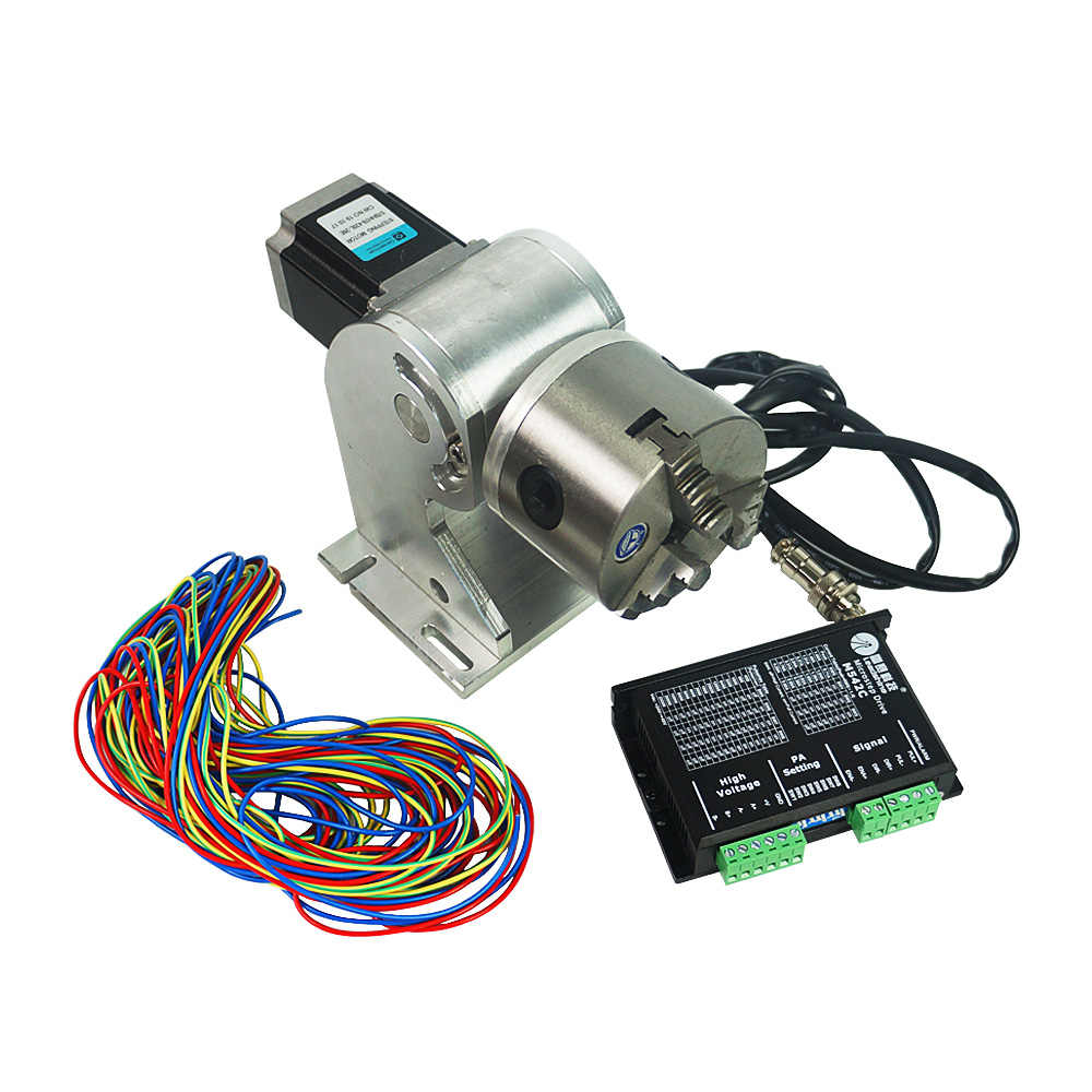 Details about  /80mm Rotary Axis Fiber Laser Marking Machine Rotary Chuck Shaft Stepping Driver