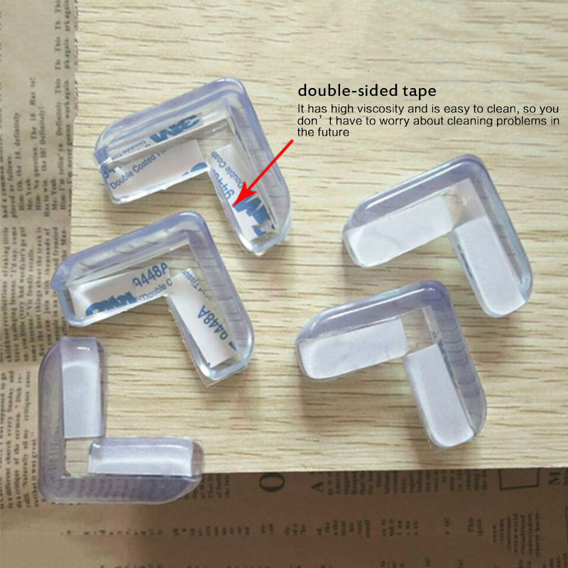 4Pcs Baby L-Shaped Anti-Collision Corner Thickened Transparent Table Corner Safety Protection Pad Si