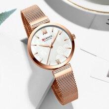 цена на CURREN Watches Women's Simple Fashion Quartz Watch Ladies Wristwatch Charm Bracelet Stainless Steel Clock relogios feminino