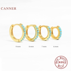 CANNER Round micro-inlaid Turquoise Earrings Hoops 100% 925 Sterling Silver Zircon Earrings For Women Jewelry Aretes De Mujer