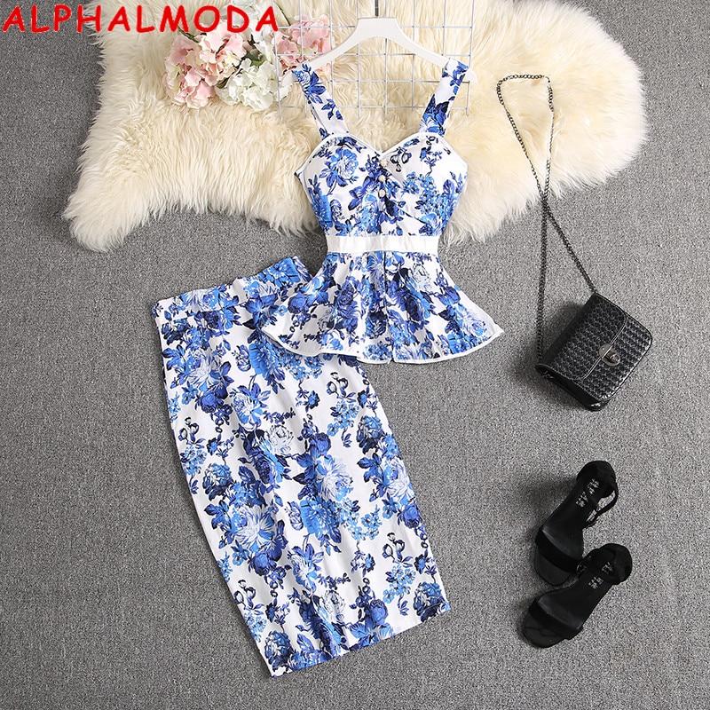 ALPHALMODA 2020 New Sweet Tank Top + Straight Skirt Women 2pcs Suit Ruffled Printed Blouses Outfit Knee Length Skirt Set