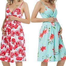 Платье для беременных платье средней длины на бретельках с цветочным