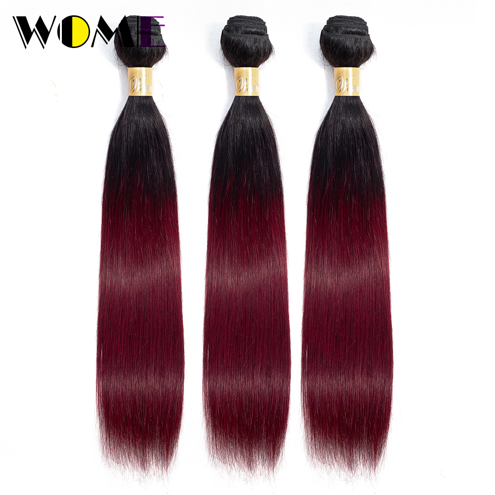 Wome Ombre Straight Brazilian Hair Weave Bundles 100% Human Hair 3 Bundle Deals Two Tone Burgundy 1b99j Non-remy Hair Extensions