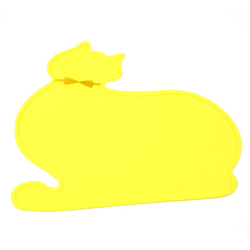 Pet Food Placemat Feeding Mat Waterproof Pad Cute Cat-shaped Silicone Anti-Slip Bowl Tray For Dog Cat Reusable Mat Pet Products