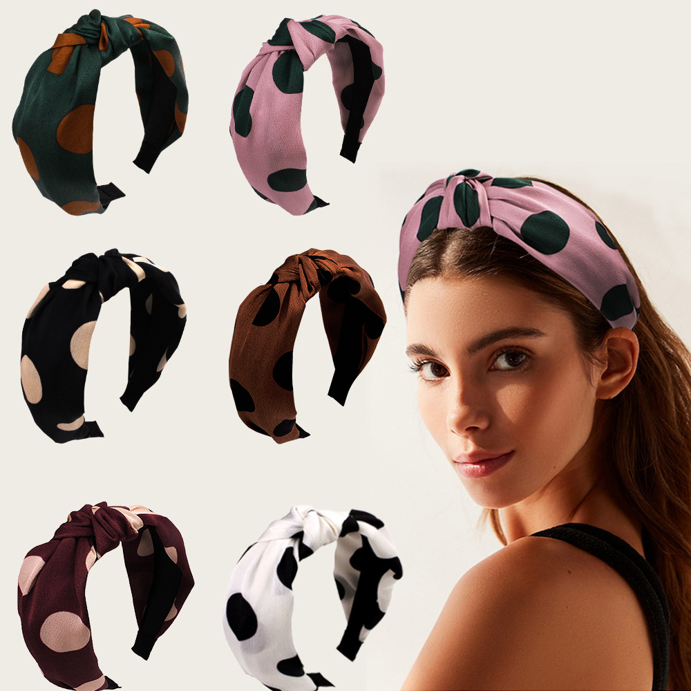 Hair Scrunchies Nylon Headbands Polka Dot Bee Striped Ribbon Korean Style Wide-band Knotted Hairbands Womens Hair Accessories