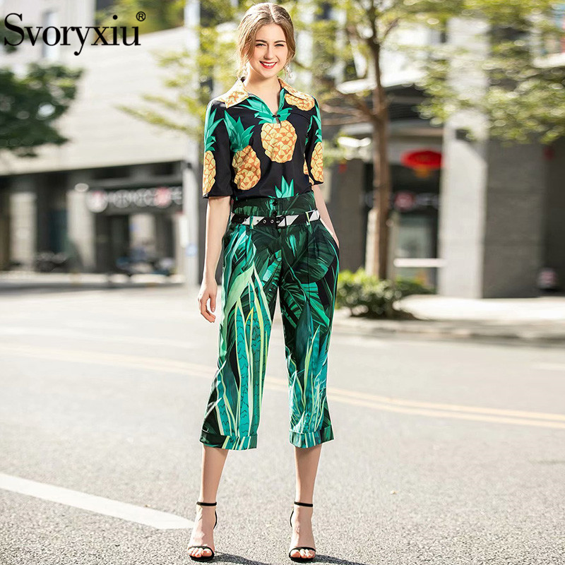 Svoryxiu Runway Summer Fashion Trousers Suits Women's Half Sleeve Pineapple Banana Leaf Print Blouse + Pants Two Piece Set