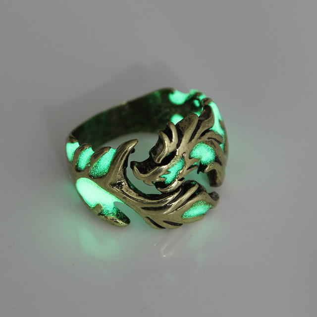bague dragon argent vert