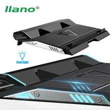 LLANO 17 inç oyun dizüstü soğutucusu iki Fan dizüstü soğutma pedi çift USB bağlantı noktaları, LED Surround dilsiz dizüstü radyatör standı