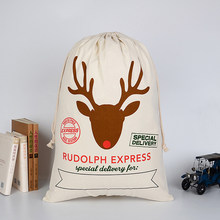 1pc High Capacity Christmas Santa Sacks Elk Cotton Drawstring Canvas Candy Cane Bag Gift Holders Party For kids Presents(China)