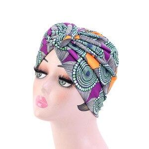 Image 5 - Nowe kobiety afrykański wzór wiązane Turban w kwiaty Turban muzułmański Twist Knot indie kapelusz panie czepek dla osób po chemioterapii bandany akcesoria do włosów