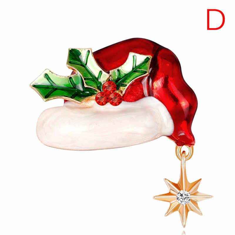 Noel emaye broş ağacı kristal Pin kadınlar için parti takı noel hediyesi güzel kırmızı ayakkabı çizme çan geyik kardan adam