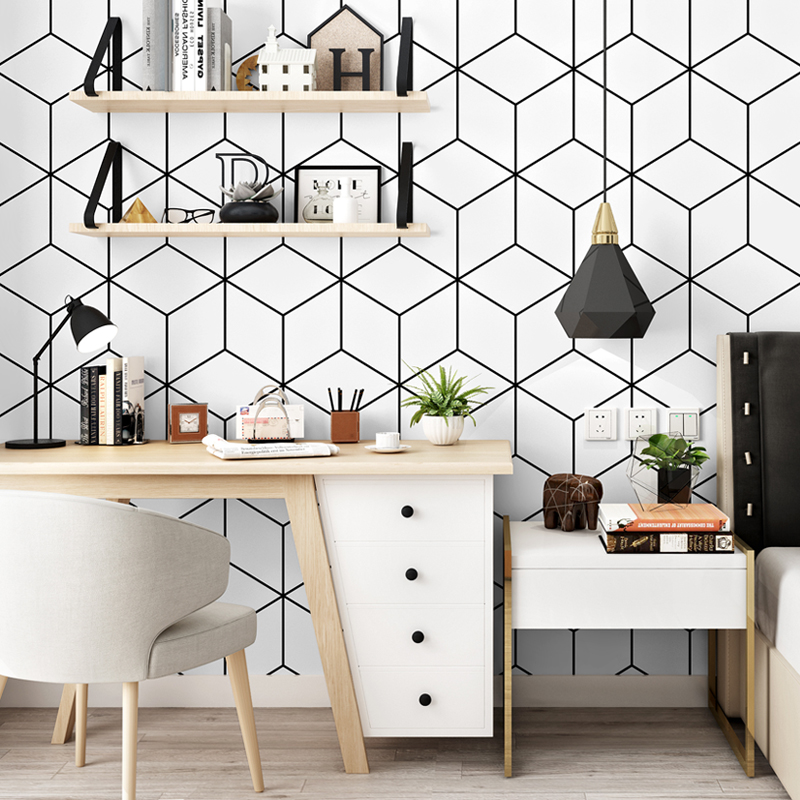 PVC Wallpaper Modern Simple Black And White Lattice Geometry Wall Papers Roll Living Room TV Bedroom INS Nordic Style Home Decor