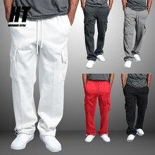 Calças esportivas masculinas joggers treinamento de fitness carga moletom solto elástico na cintura marca algodão respirável muscular calças masculinas