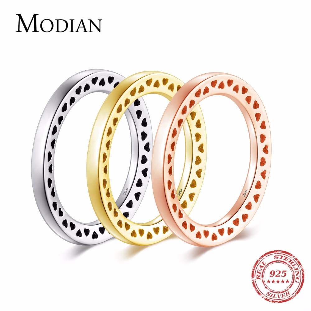 Modian 3 Color Genuine 925 Sterling Silver Heart Rings Simple Stackable Fashion Instagram Jewelry For Women Fine Couple Gfit