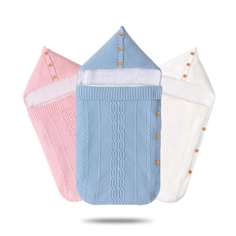 Autumn Knitted Envelopes For Newborns Baby Stroller Bedding Swaddle Wrap Sleep Sack Blankets Grey Velvet Infantil Sleeping Bags