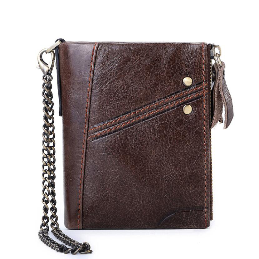 Brand RFID Anti-theft Men's Wallet Genuine Leather Purse Men Money Bag Double Zipper Coin Purse Fashion Casual Card Holder