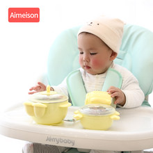 Baby Tableware Set Stainless Steel Cute Cartoon Thermal Dishes Kid Hot Water Insulation Bowl Children Feeding Dinnerware(China)