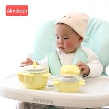 Baby Tableware Set Stainless Steel Cute Cartoon Thermal Dishes Kid Hot Water Insulation Bowl Children Feeding Dinnerware