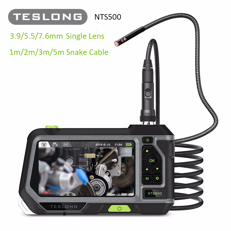 TESLONG NTS500 1080p HD 5.0 screen Industrial endoscope Borescope with Monitor 1M 2M 3M 5M snake flexible tube inspection camera image