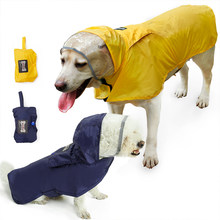Pet Raincoat Poncho Reflective Rain Coat Jacket Waterproof Pet Cloak Clothes Labrador Safety Rainwear Light Foldable Dog Hoodies(China)