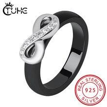 925 anéis elegantes das mulheres 4mm preto branco cerâmica anel índia pedra cristal infinito conforto casamento anéis de noivado marca jóias