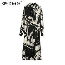 KPYTOMOA Women 2020 Fashion With Buttons Printed Pleated Midi Dress Vintage Long Sleeve Front Vents Female Dresses Vestidos